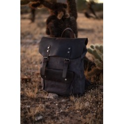 Canvas-Leather-Travel-Backpack-Vintage-Laptop-Rucksack-Waterproof-Unisex-Bag-Mens-Women39s-Minimalist-Style-Work-School-Tote-Cam